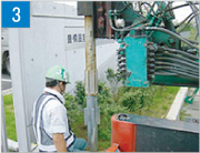 打込み機によるSP基礎の打設